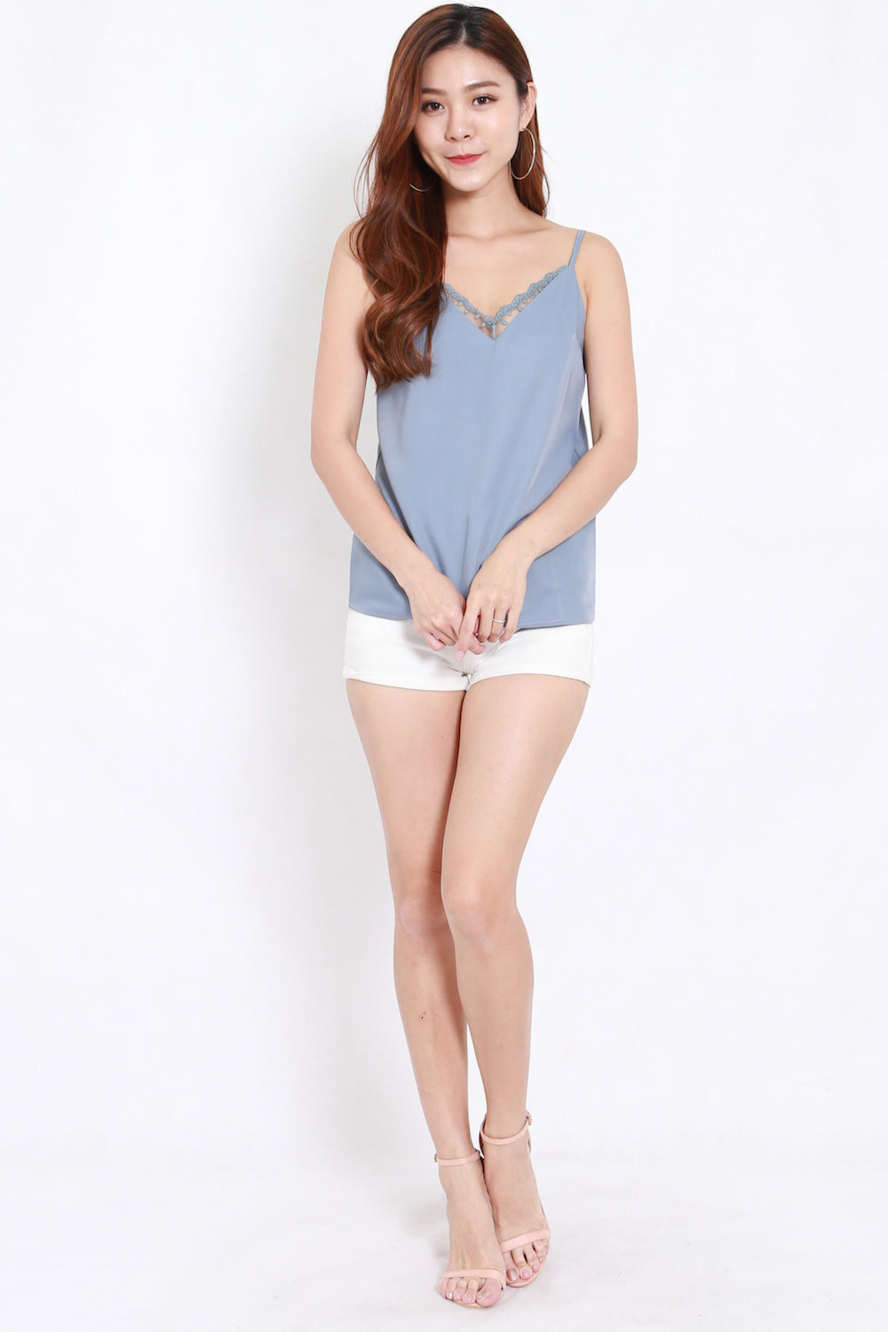 Lace V Spag Top (Blue)