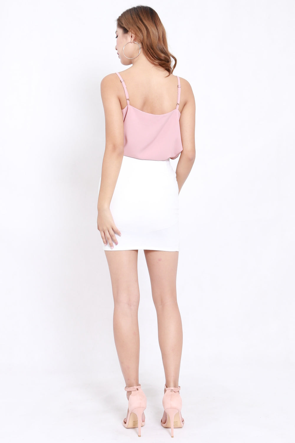 Lace V Spag Top (Light Pink)