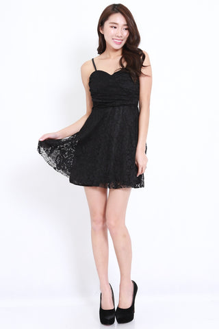 Lacey Skater Dress (Black)