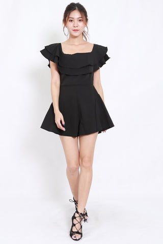 Layer Off Shoulder Romper (Black)