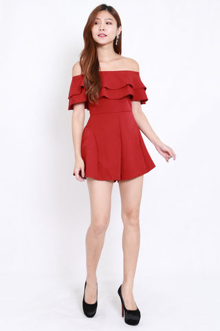 Layer Off Shoulder Romper (Maroon)