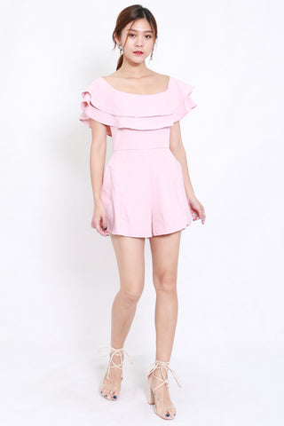 Layer Off Shoulder Romper (Pink)