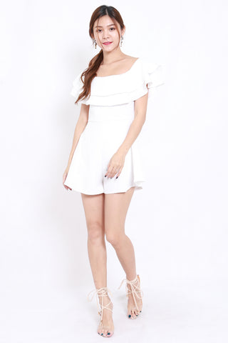 Layer Off Shoulder Romper (White)