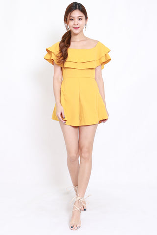 Layer Off Shoulder Romper (Yellow)