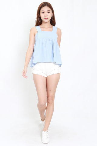 Linen Thick Strap Top (Baby Blue)
