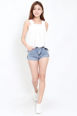 Linen Thick Strap Top (White)