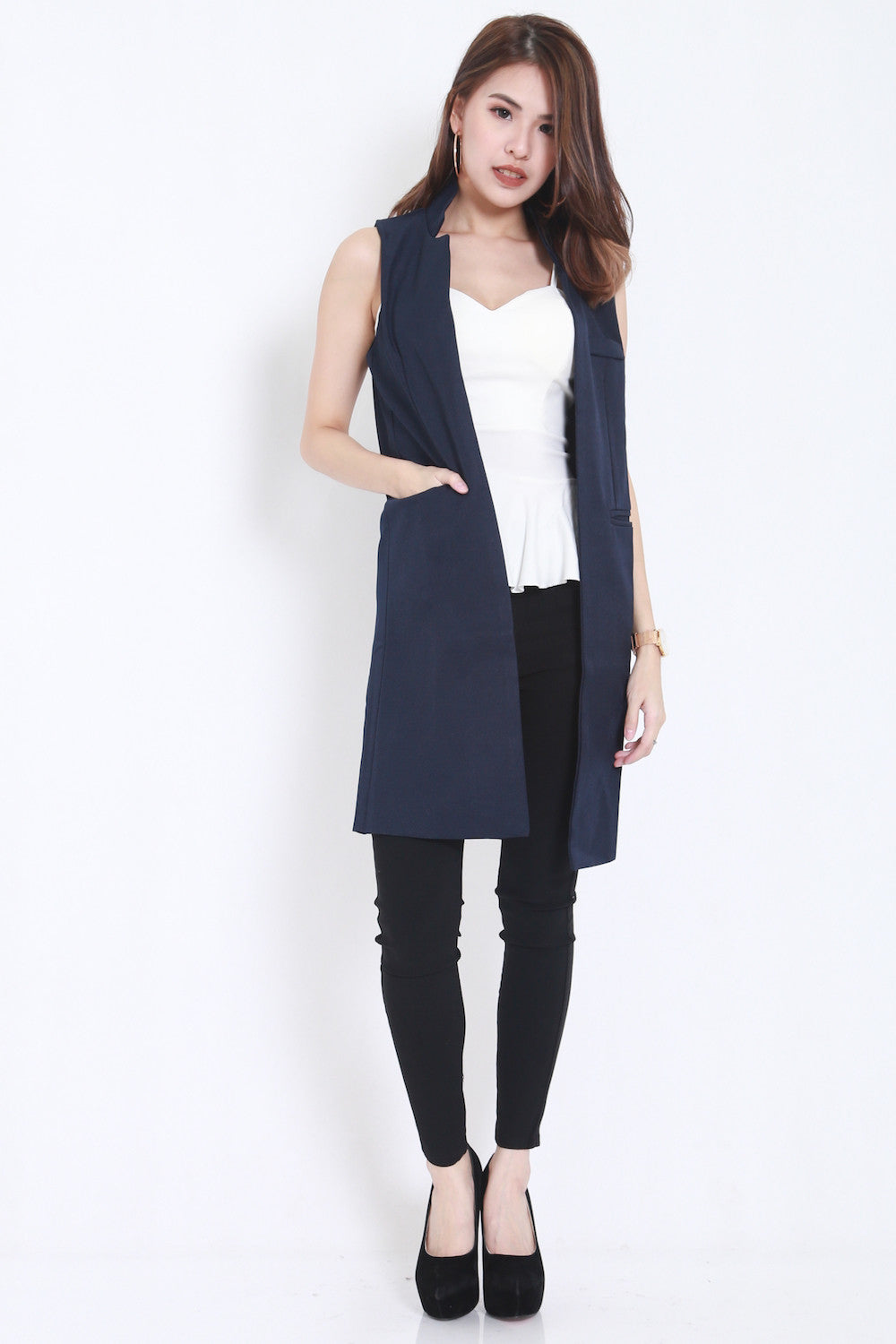 Long Pocket Vest (Navy) -  - 2