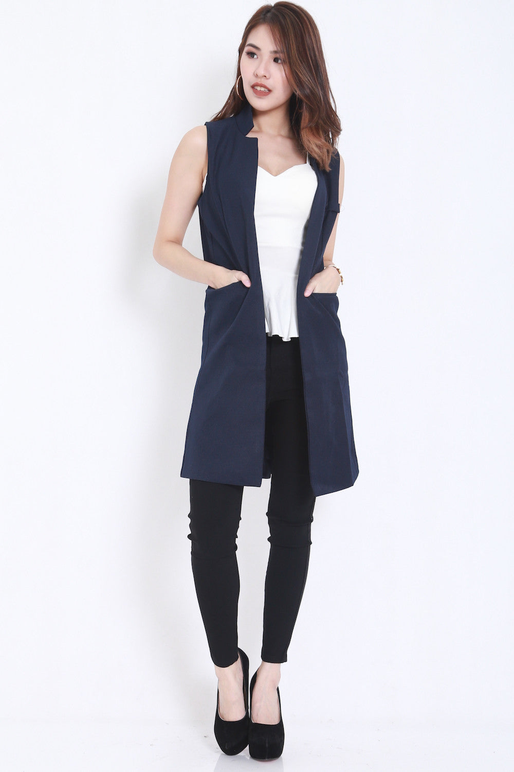 Long Pocket Vest (Navy) -  - 3