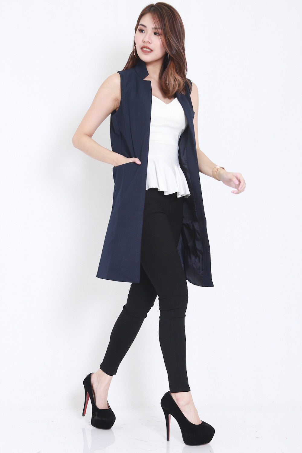Long Pocket Vest (Navy) -  - 1