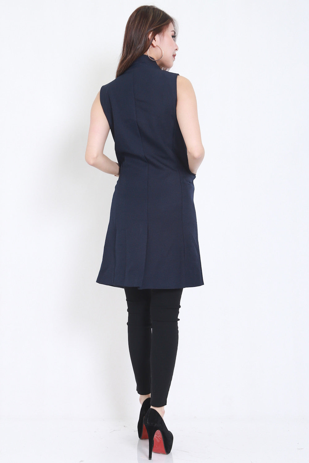 Long Pocket Vest (Navy) -  - 4