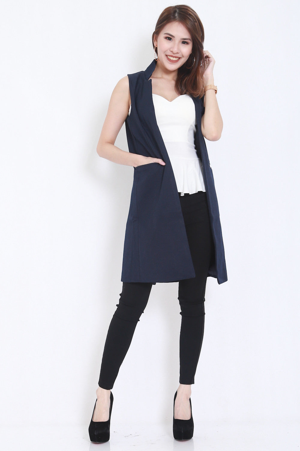 Long Pocket Vest (Navy) -  - 5