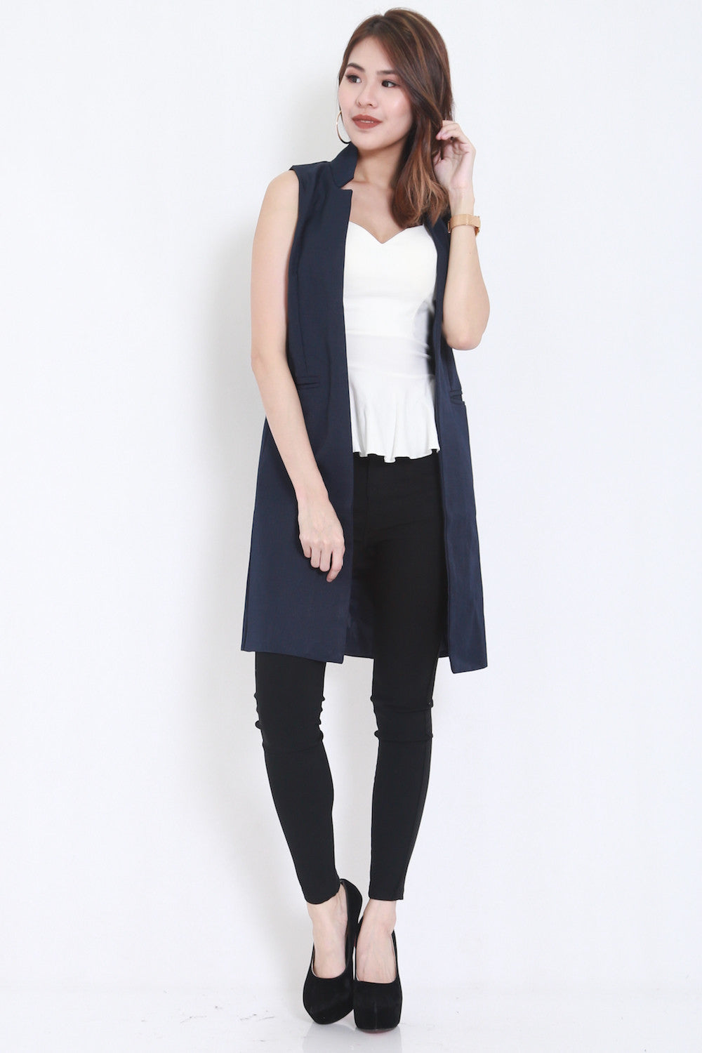 Long Pocket Vest (Navy)