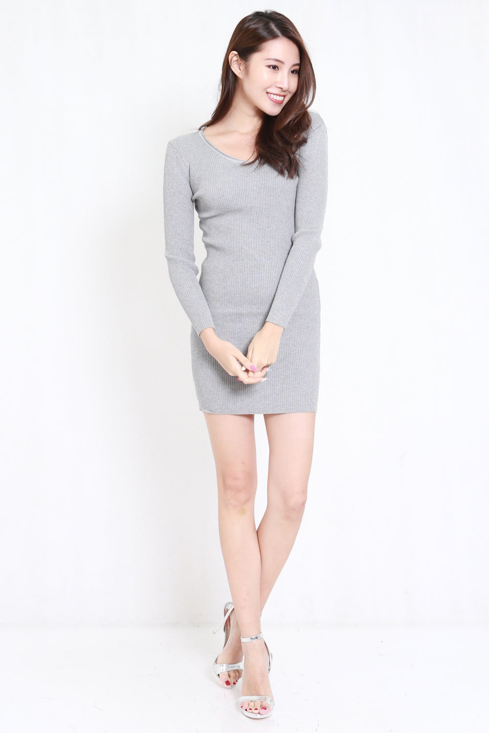Long Sleeve Knit Dress (Grey)