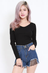 Long Sleeve Ribbed Top (Black)