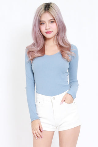 Long Sleeve Ribbed Top (Blue)