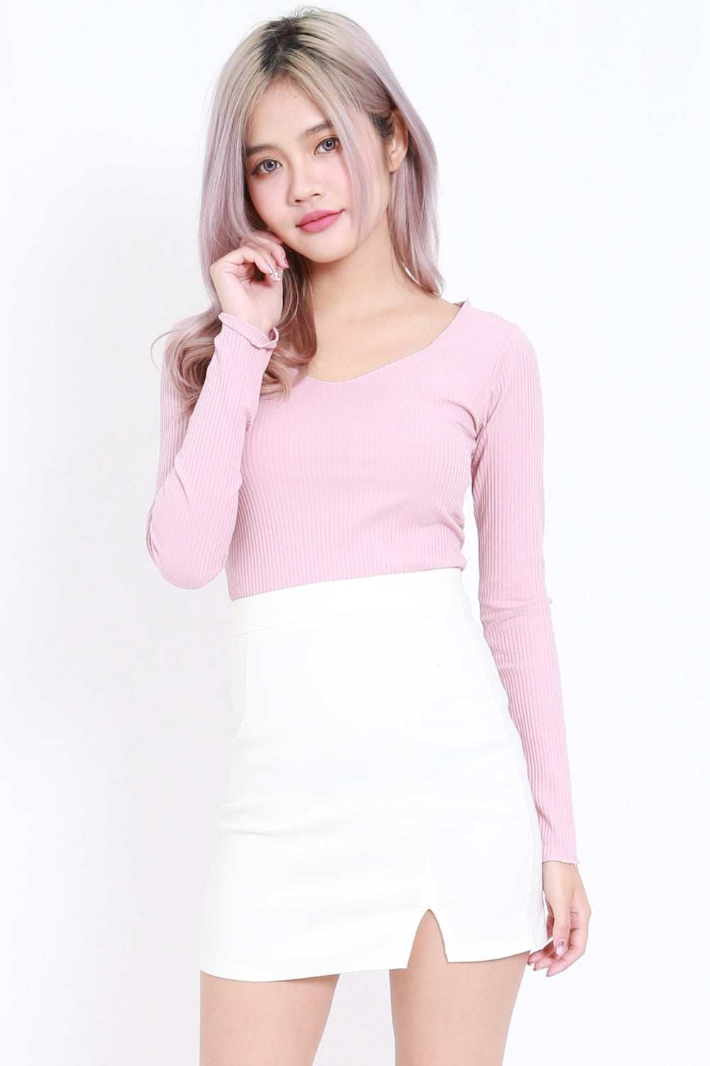 Long Sleeve Ribbed Top (Pink)