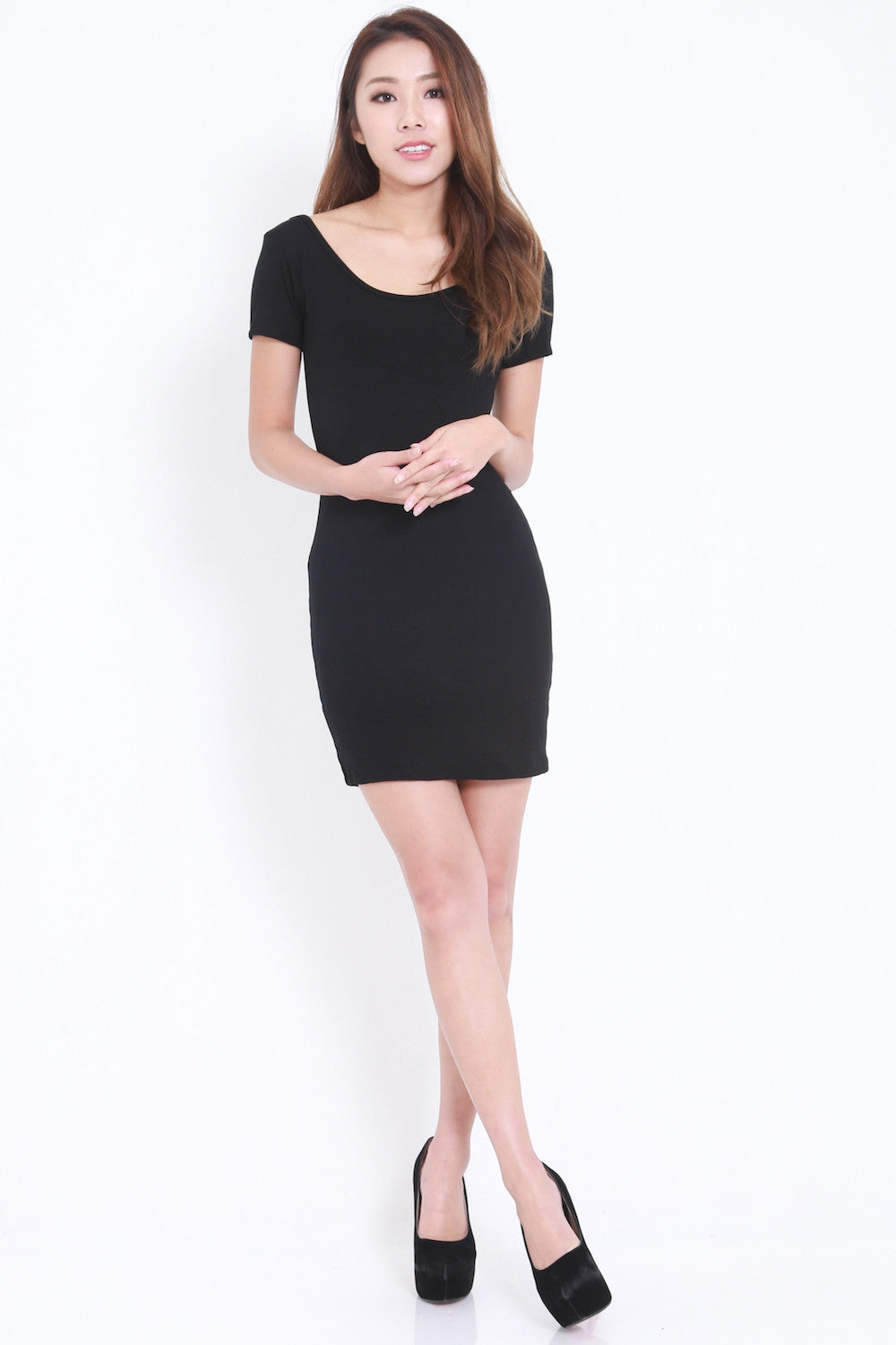 Low Back Tee Dress (Black) -  - 3