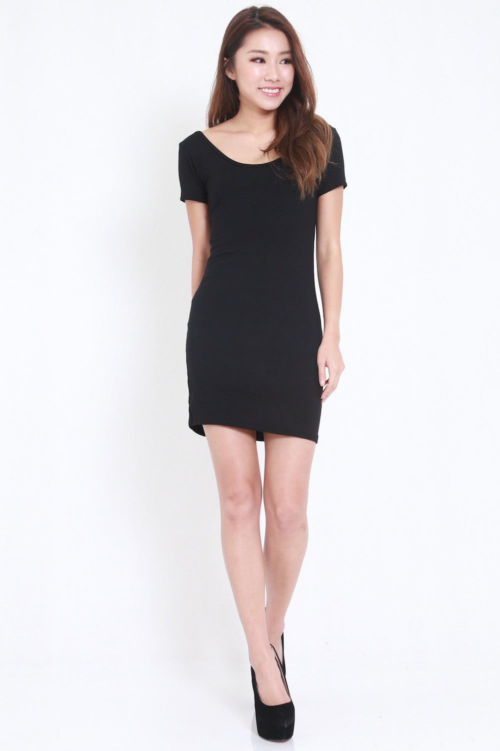 Low Back Tee Dress (Black) -  - 4