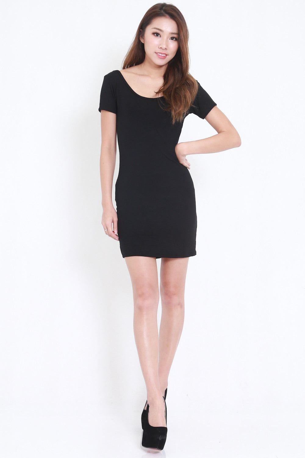 Low Back Tee Dress (Black) -  - 1