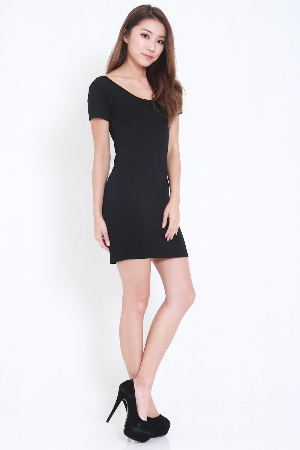 Low Back Tee Dress (Black) -  - 5