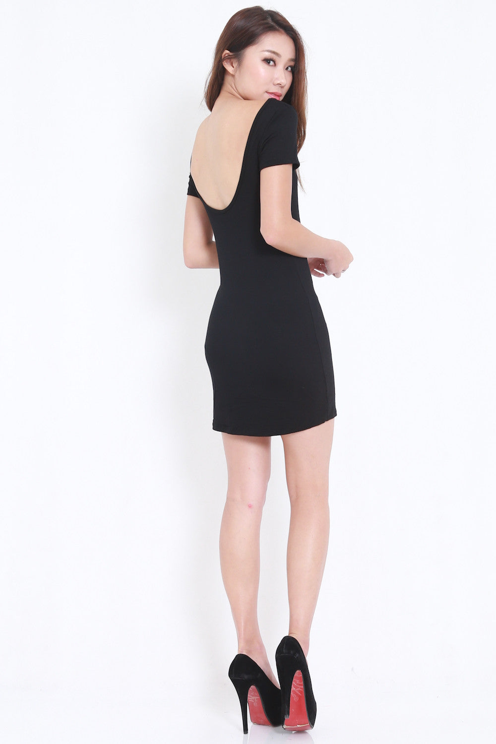 Low Back Tee Dress (Black) -  - 2
