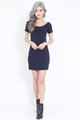 Low Back Tee Dress (Navy) -  - 1