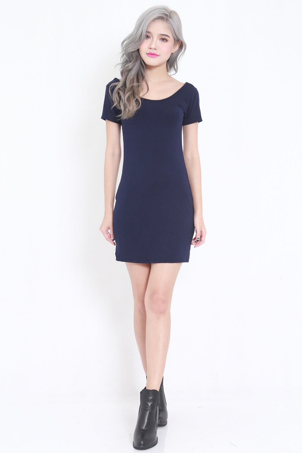 Low Back Tee Dress (Navy) -  - 3