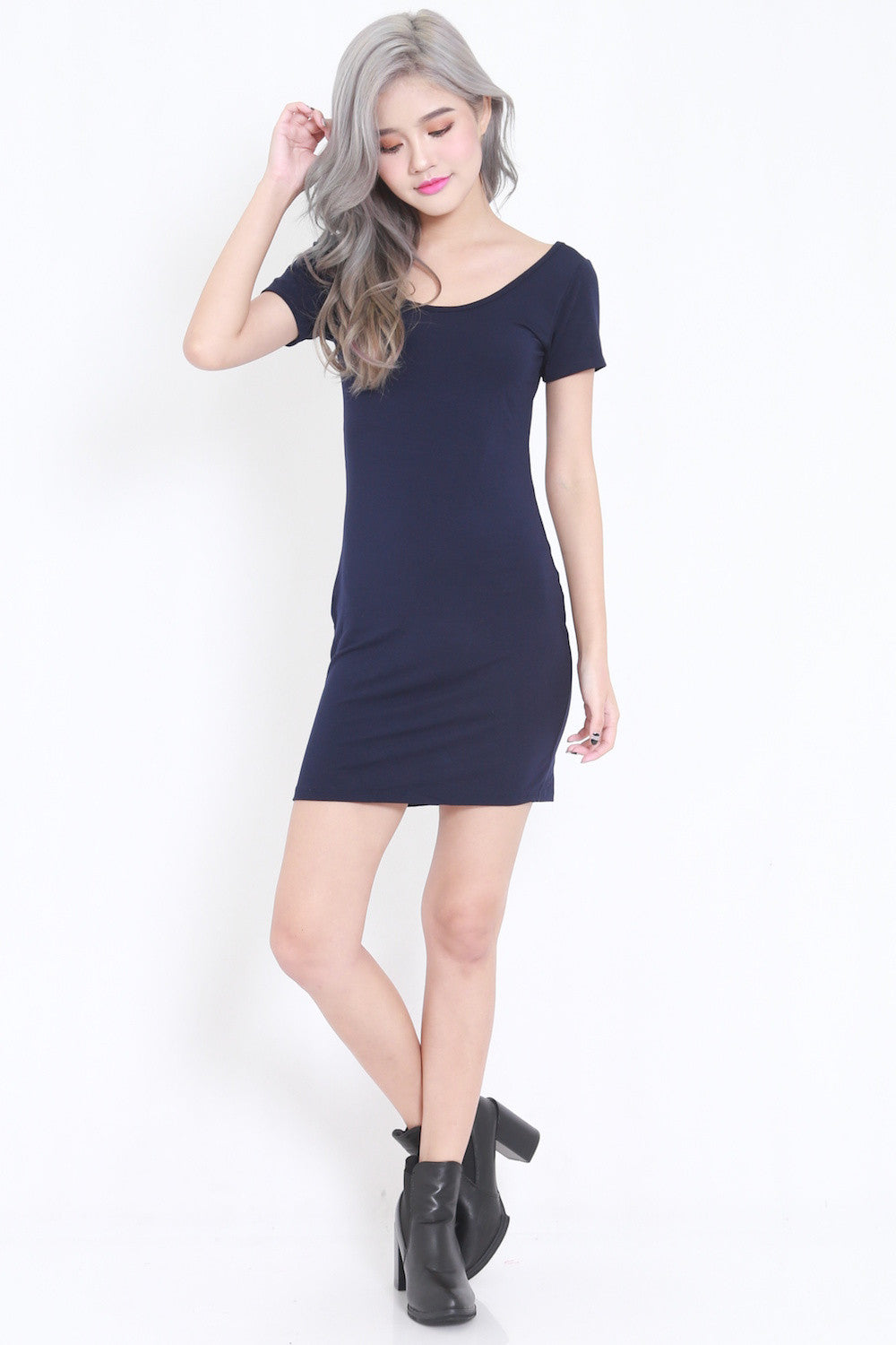 Low Back Tee Dress (Navy) -  - 4