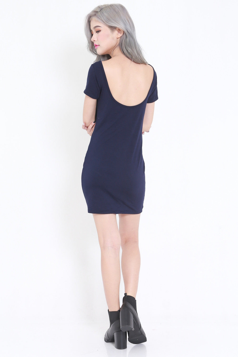 Low Back Tee Dress (Navy) -  - 5