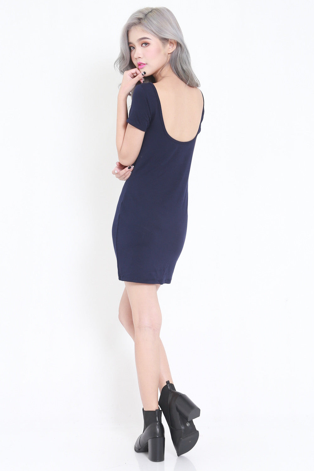 Low Back Tee Dress (Navy) -  - 2