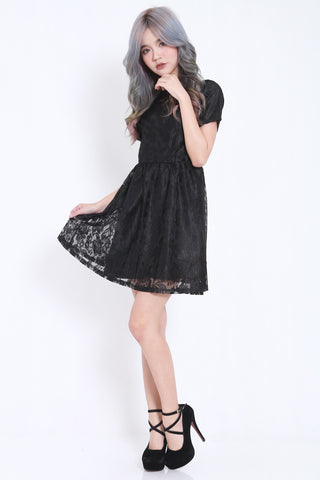 Lyla Crochet Babydoll Dress (Black) -  - 2