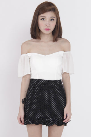 Chiffon Sleeve Off Shoulder Top (White) -  - 1