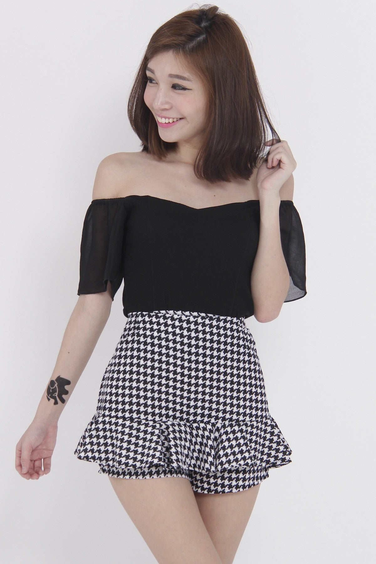 Chiffon Sleeve Off Shoulder Top (Black) -  - 1