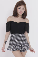 Chiffon Sleeve Off Shoulder Top (Black) -  - 4