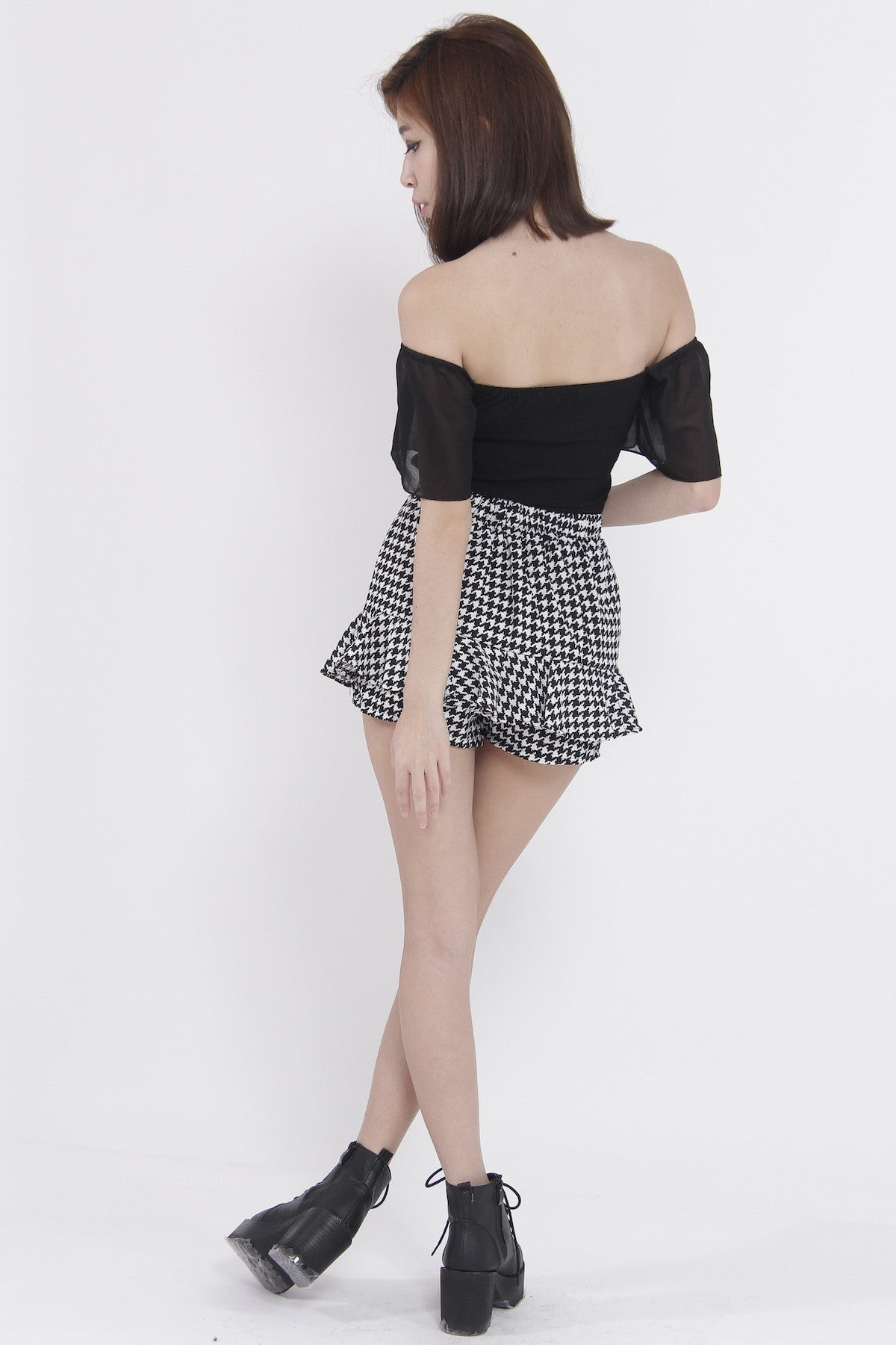 Chiffon Sleeve Off Shoulder Top (Black) -  - 8