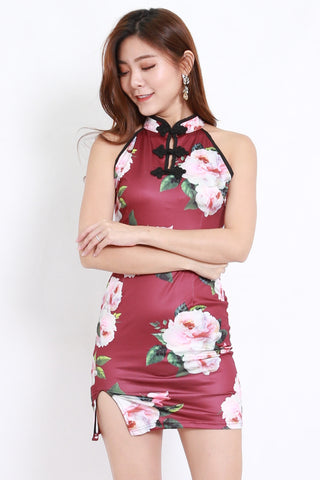 Maroon Floral Slit Cheongsam Dress