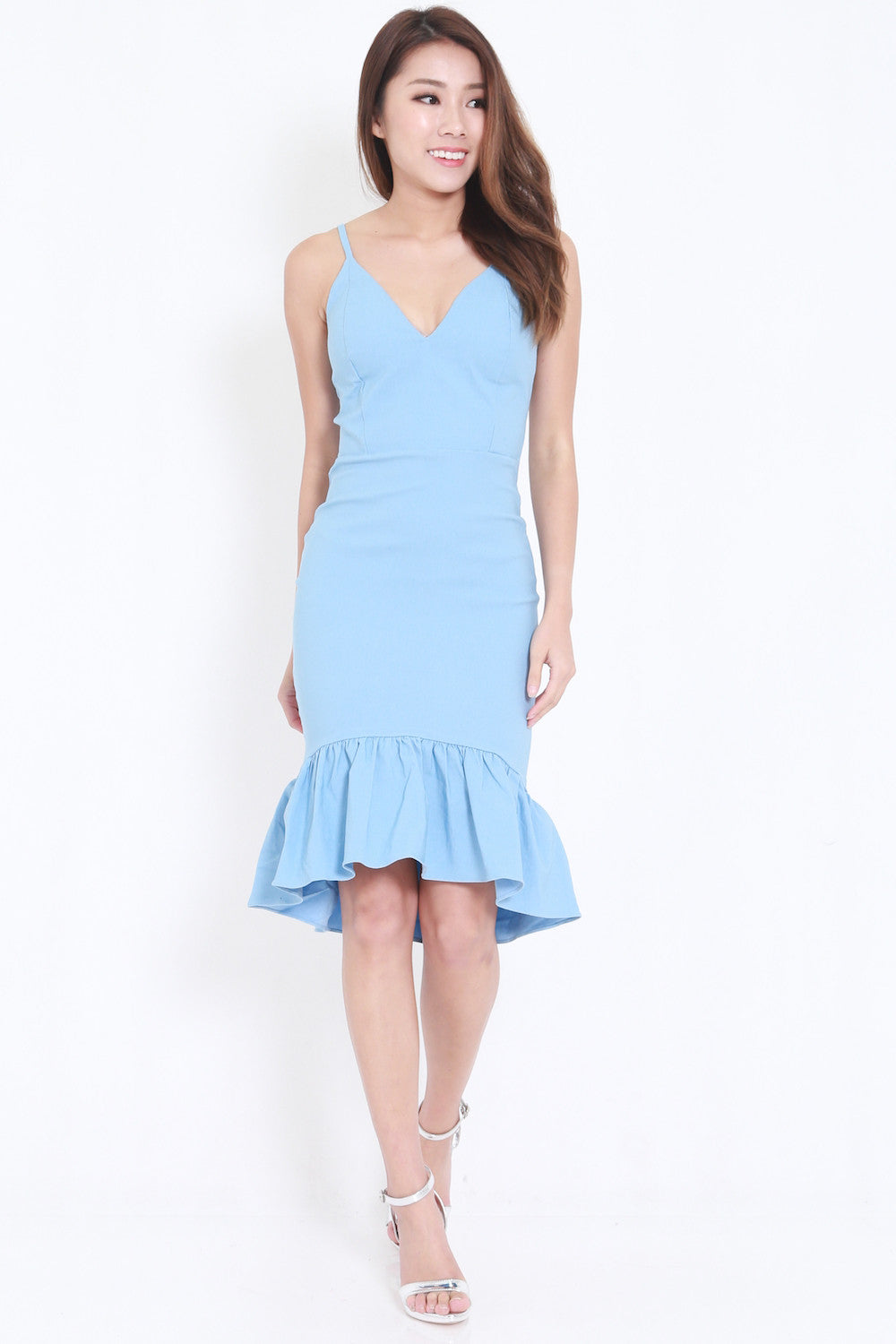 Mermaid Frill Midi Dress (Blue) -  - 1