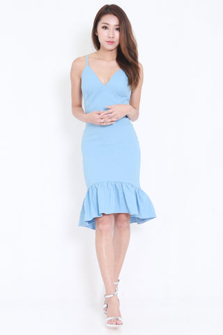 Mermaid Frill Midi Dress (Blue) -  - 2