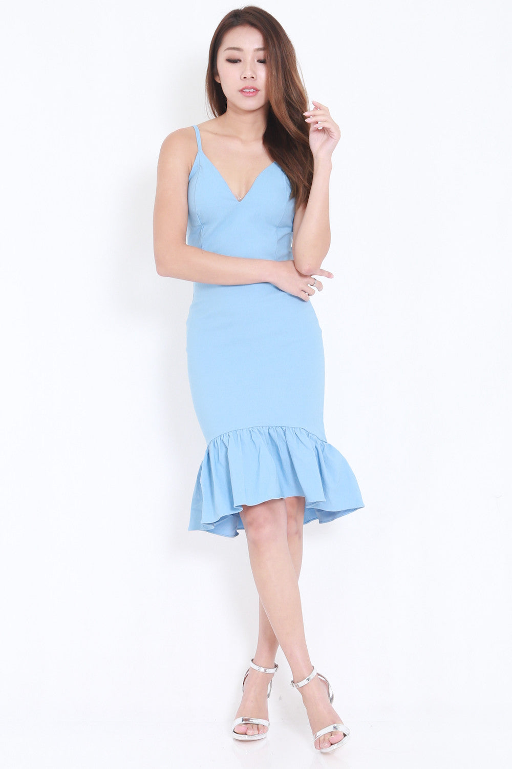 Mermaid Frill Midi Dress (Blue) -  - 3