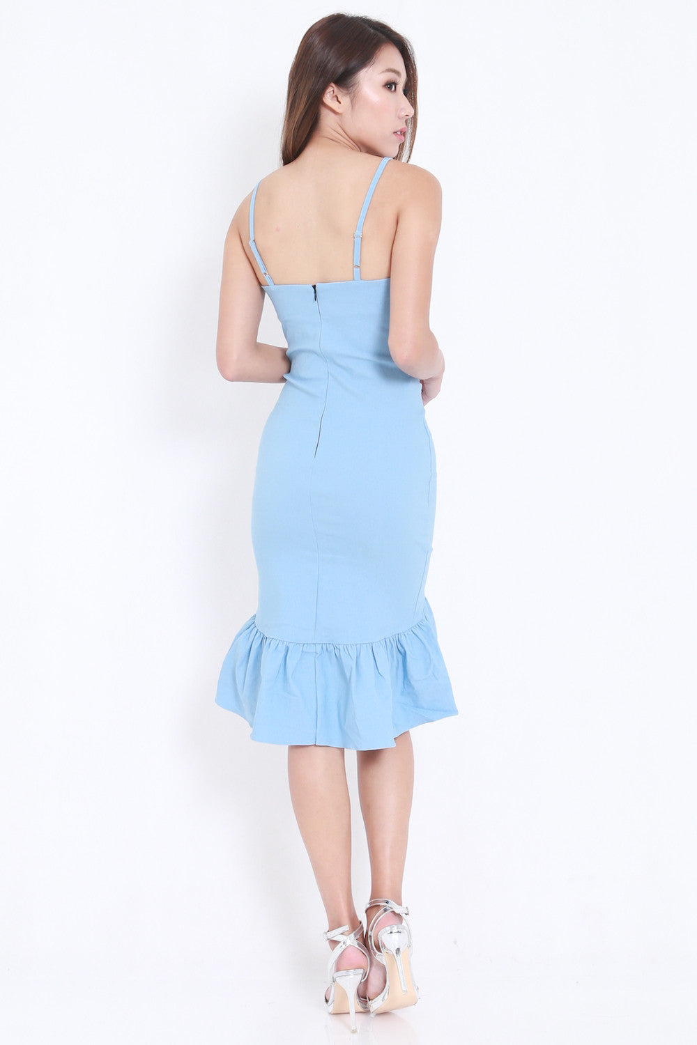 Mermaid Frill Midi Dress (Blue)