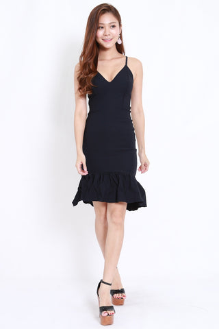 Mermaid Frill Midi Dress (Navy)