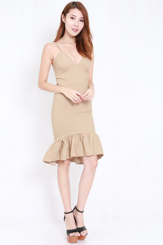 Mermaid Frill Midi Dress (Nude)
