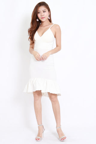 Mermaid Frill Midi Dress (White)