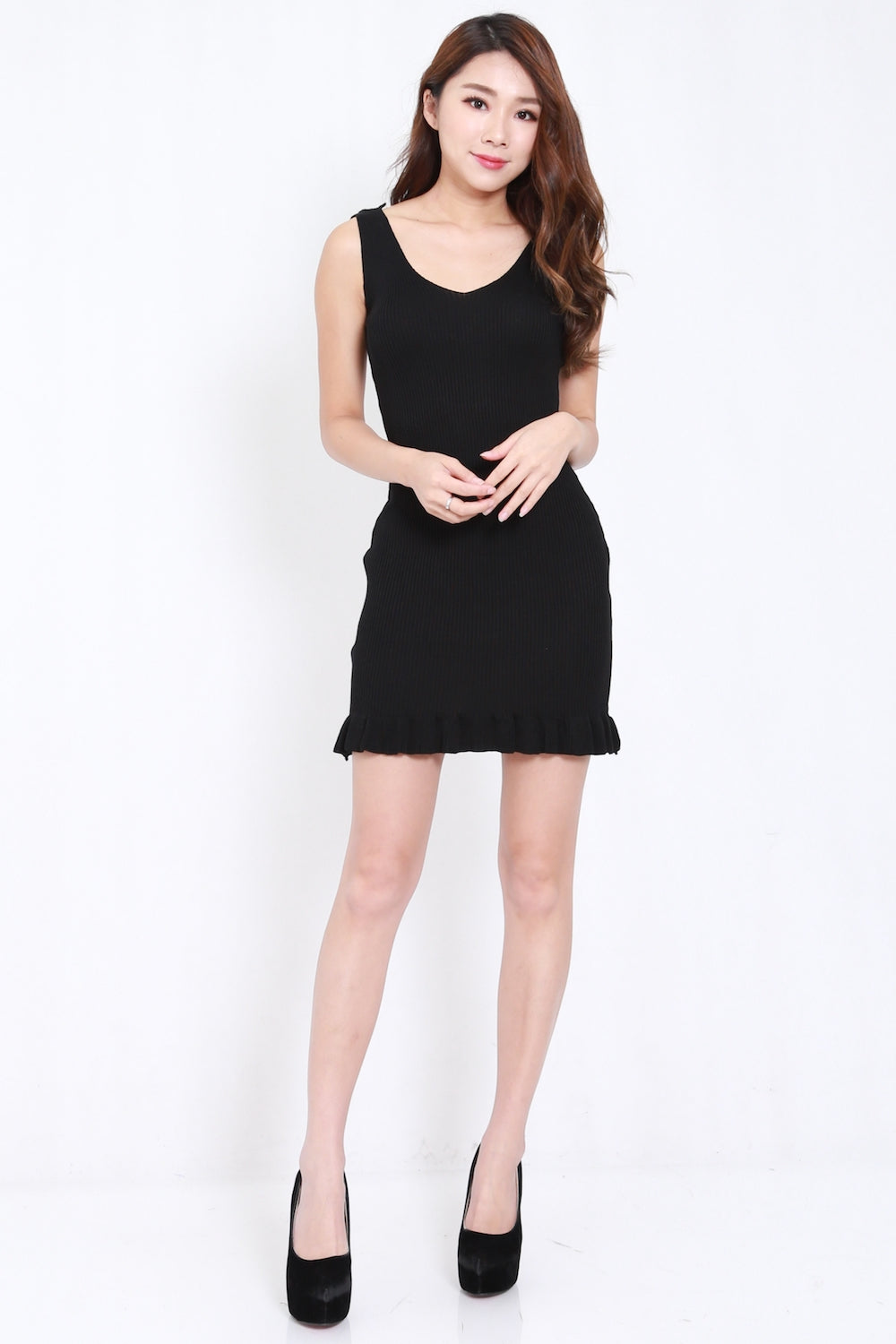 Mermaid Hem Knit Dress (Black)