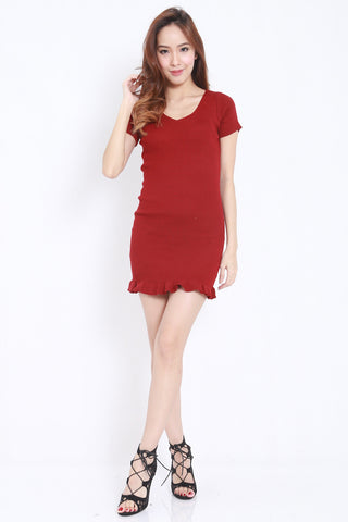 Mermaid Knit Dress (Maroon) -  - 1