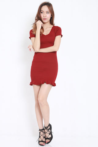 Mermaid Knit Dress (Maroon) -  - 2