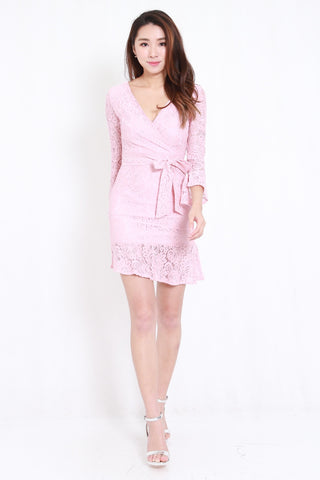 Mermaid Lace Overlap Dress (Pink)