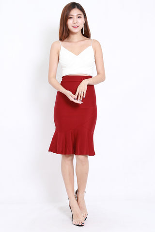 Mermaid Midi Skirt (Maroon)