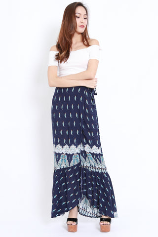 Mermaid Wrap Skirt (Navy)