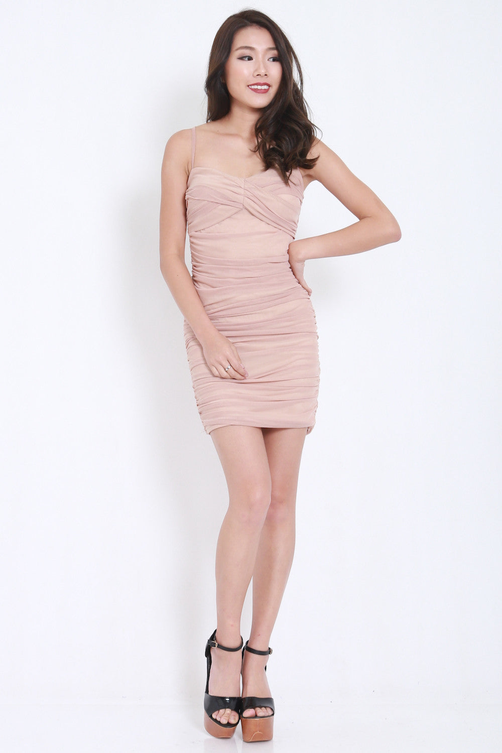 Mesh Bandage Dress (Nude) -  - 1